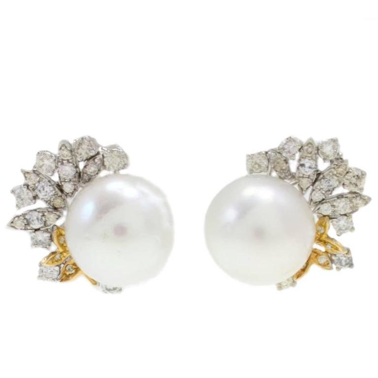 Pearl Diamond Gold Earrings
