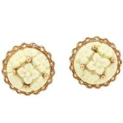 Diamond Rose Gold Stone Earrings