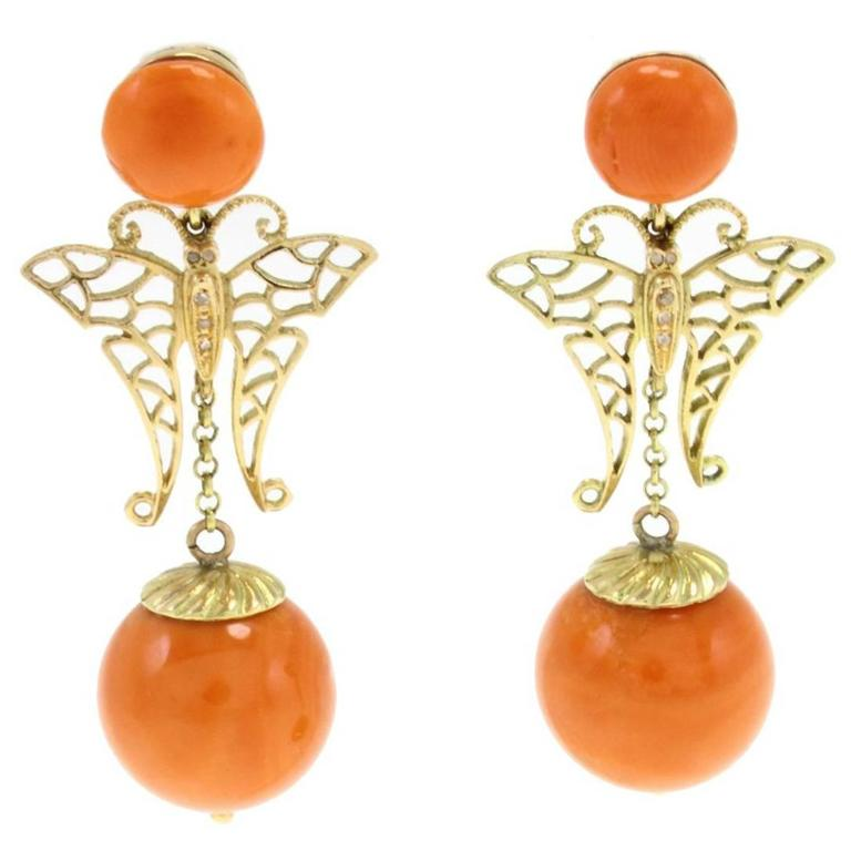 Coral Sphere Diamond Gold Earrings For Sale