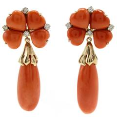 Luise Diamond Coral Flower and Coral Drop Earrings