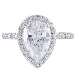 GIA Certified Pear Shape Diamond Halo Engagement Ring