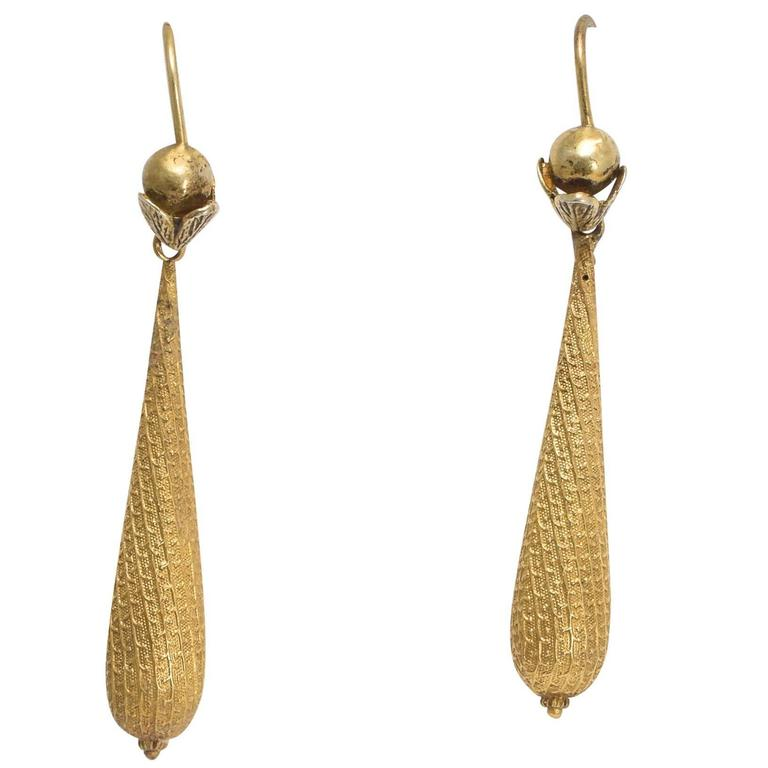 Antique Victorian Gold Torpedo Earrings
