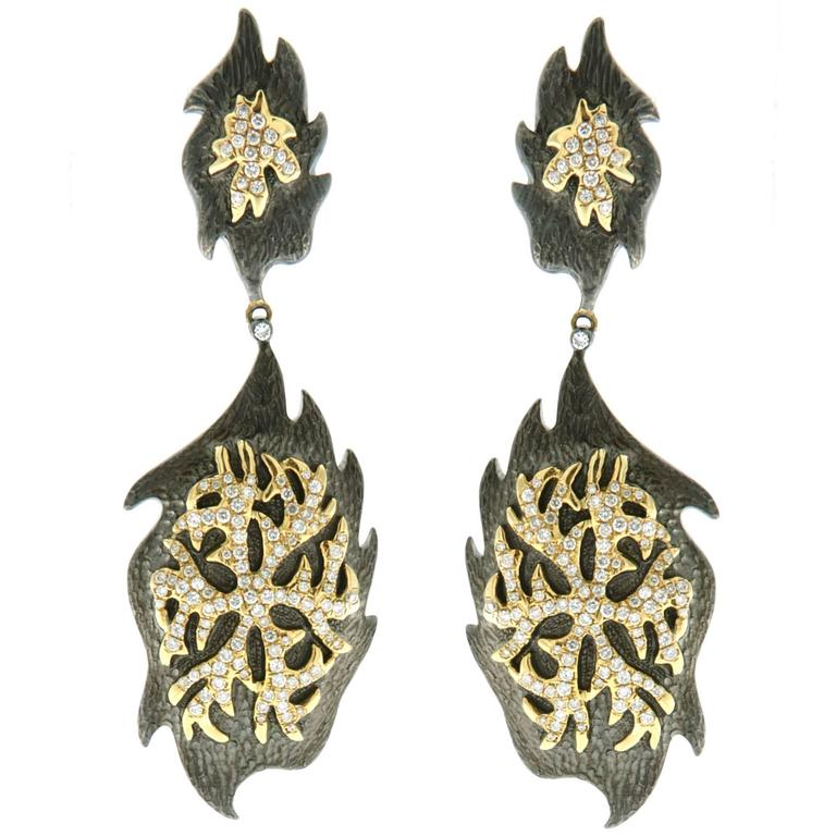 Diamond Silver Gold Earrings