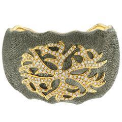 Diamond Silver Gold Cuff Bracelet