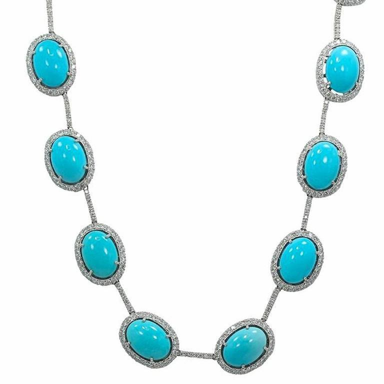 oval turquoise diamond white gold necklace for sale at 1stdibs