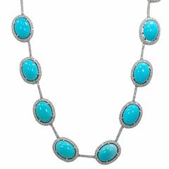 Oval Turquoise Diamond White Gold Necklace