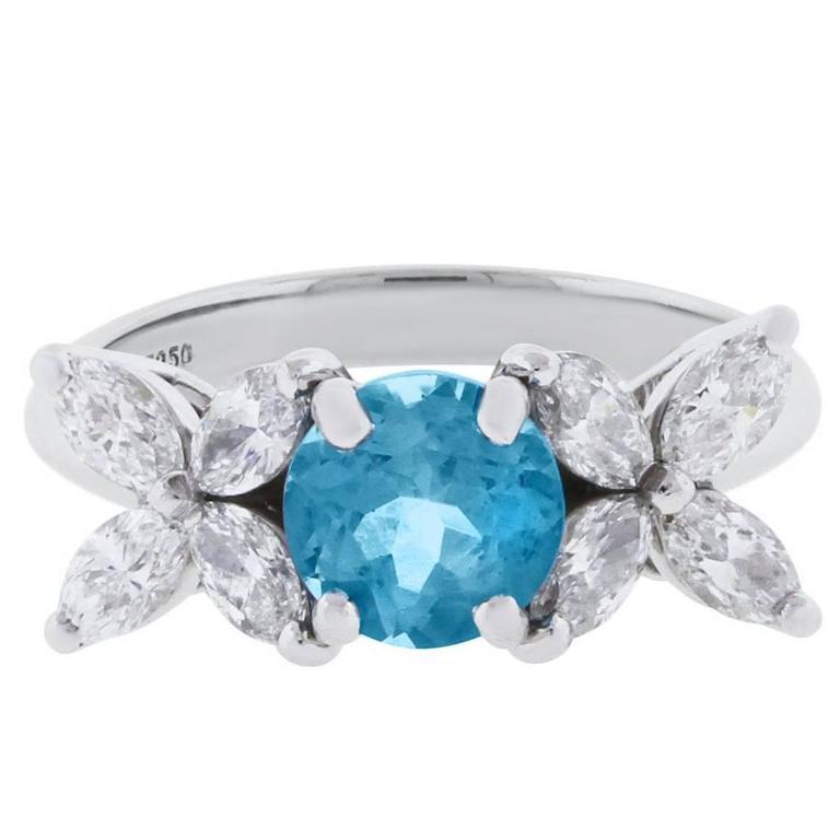 Tiffany & Co. Victoria Aquamarine Diamond Platinum Ring