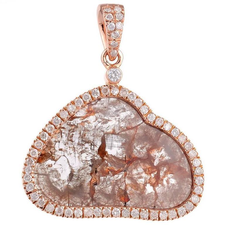 Sliced Diamond Gold Pendant