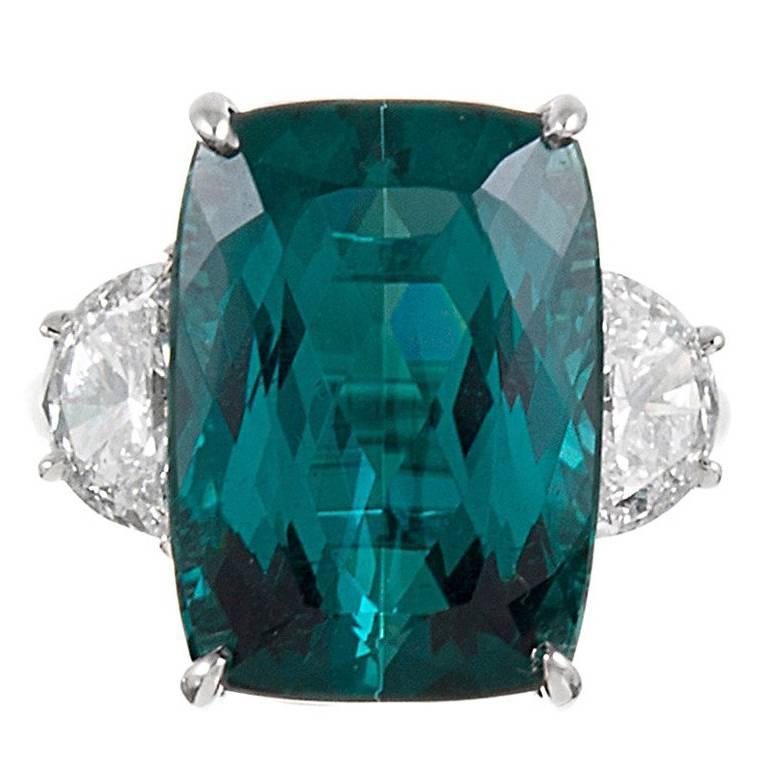 13.55 Carat No Heat Tourmaline Diamond Platinum Ring