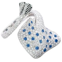 Ray Fish Blue Sapphire White Diamond Gold Ring