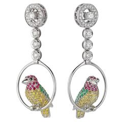 Vivid Yellow White Black Diamond Ruby Emerald Gold Birds Drop Earrings