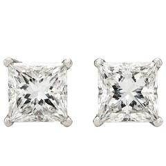GIA 4.20 Carat Total Weight Princess Cut Stud Earrings