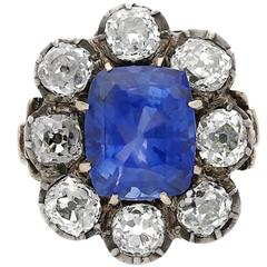 19th Century 6.08 Carat Cushion-Cut Ceylon Sri Lanka Sapphire Diamond Ring