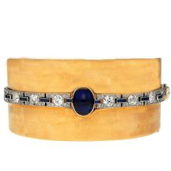 Coleman E. Adler 4.42 Carat Cabochon Oval-Cut Sapphire Diamond Gold Bangle