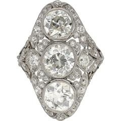 Art Deco 6.00 Carat Old European Cut Diamond Ring