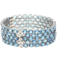 Aquamarine Diamond White Gold Bracelet