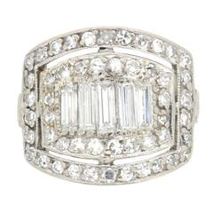 Late Art Deco Diamond White Gold Platinum Cluster Ring, circa 1930s