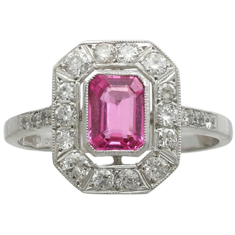Contemporary 1.11 Carat Pink Sapphire Diamond Platinum Cocktail Ring
