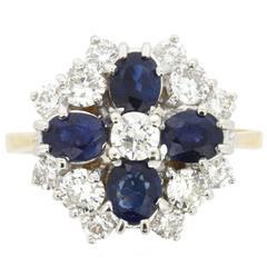 Sapphire Diamond Cluster Cocktail Ring, circa 1973