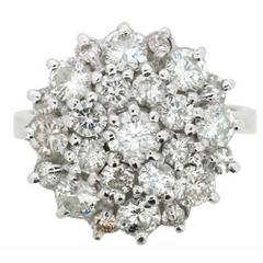 2.76 Carats Diamonds White Gold Cluster Cocktail Ring, circa 1970s
