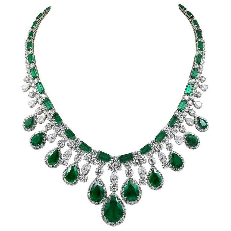Columbian Emerald Diamond Necklace Platinum