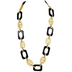 Van Cleef & Arpels Onyx Diamond Gold Necklace