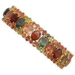 1980s 96.65 Carat Tourmaline Peridot Yellow Gold Bracelet