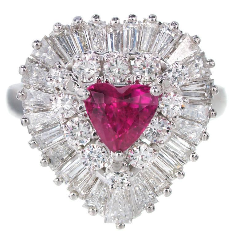 1.13 Carat Palais Ruby Diamond Ringdant Platinum Pendant Ring 1