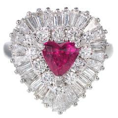 1.13 Carat Palais Ruby Diamond Ringdant Platinum Pendant Ring