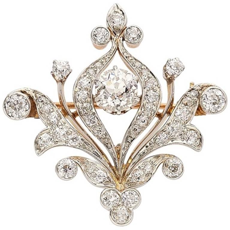Edwardian Diamond Gold Brooch