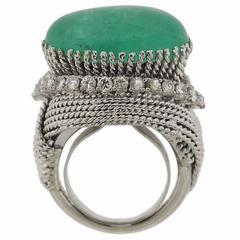 David Webb  Diamond Emerald Cabochon Cocktail Ring