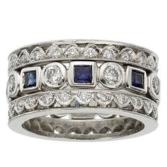 Tacori Sapphire Diamond Platinum Band Ring