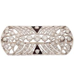 Art Deco Diamond Black Onyx Platinum Brooch