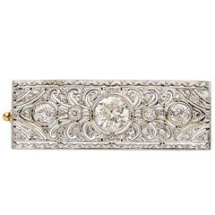 Art Deco Diamond Platinum Gold Brooch