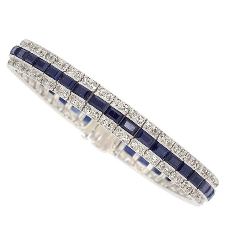 Art Deco Shire Diamond Platinum Bracelet For