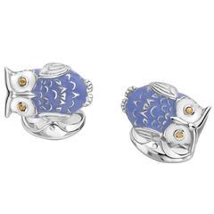 Deakin & Francis Sterling Silver Blue Owl Cufflinks