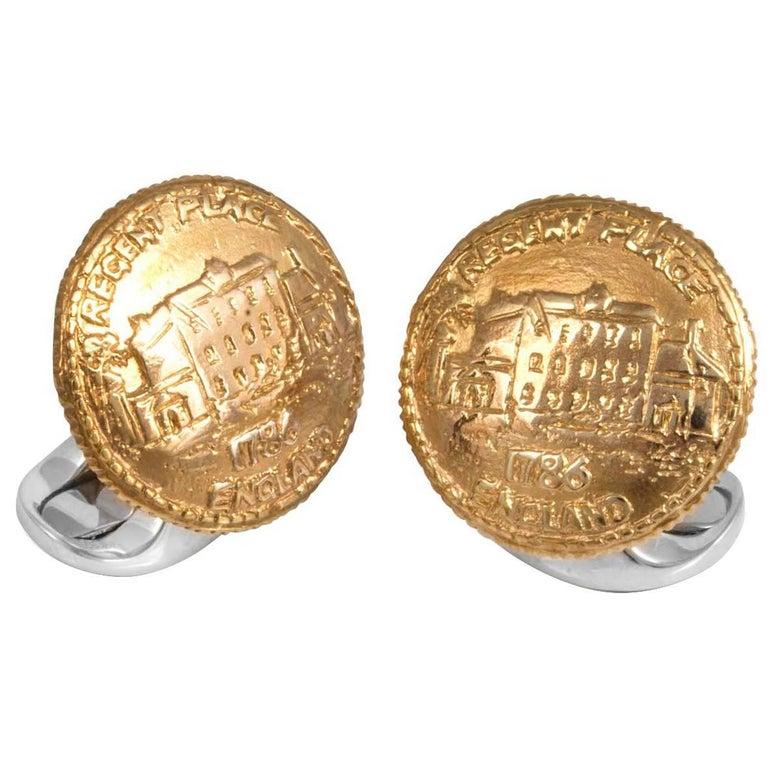 Deakin & Francis Sterling Silver 230 Coin Cufflinks Regents Place For Sale