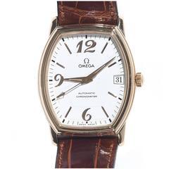 Omega Yellow Gold De Ville Prestige Tonneau Chronometer Automatic Wristwatch