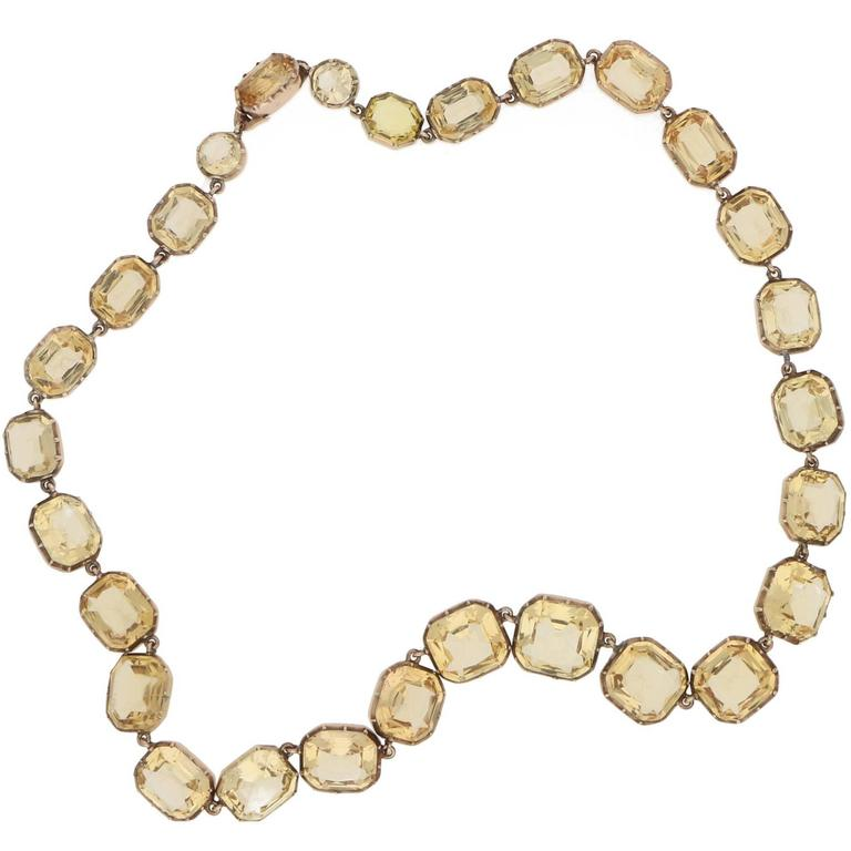 Victorian Imperial Topaz Yellow Gold Riviere Necklace For Sale