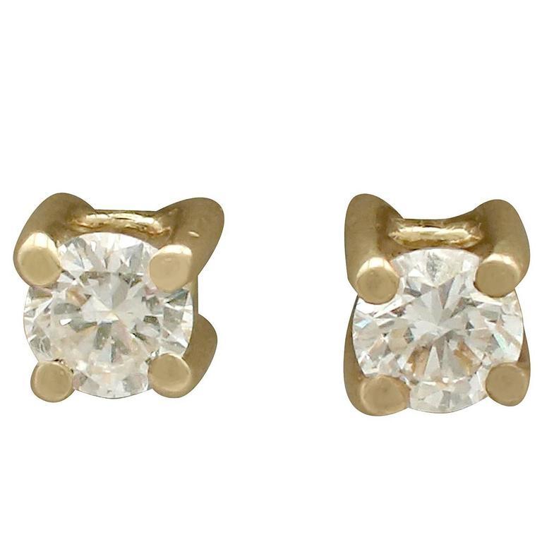 1990s Diamond Yellow Gold Stud Earrings