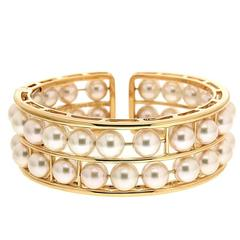 Floating Two Rows Pearl Bracelet