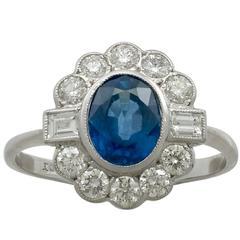 Contemporary 1.52 Carat Sapphire Diamond White Gold Cocktail Ring