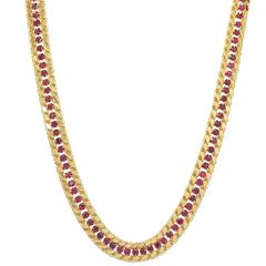Yellow Gold Necklace with Round Rubies
