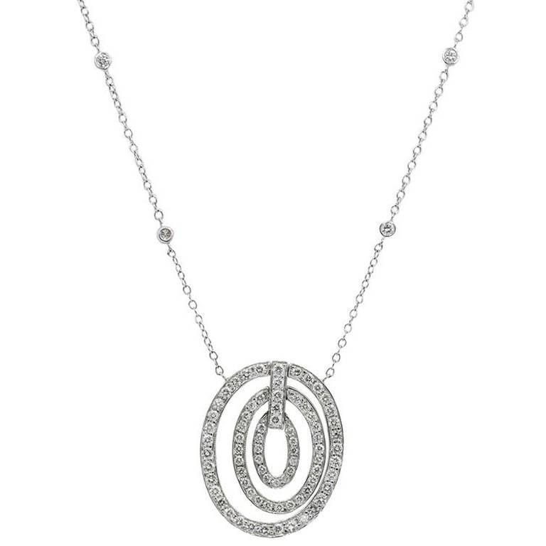 White Gold Diamonds by the Yard Necklace with Diamond Pave Ovals