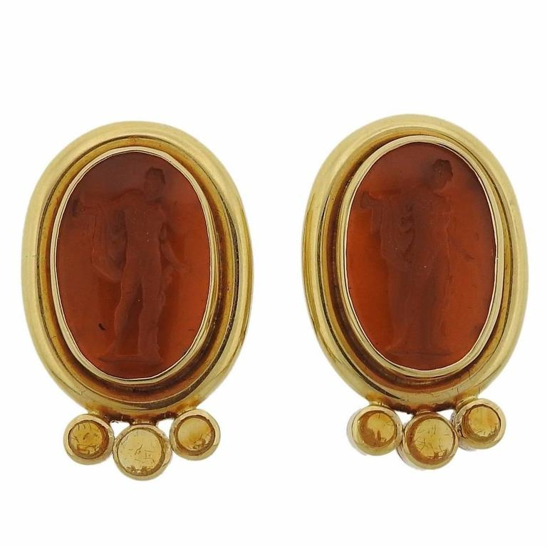 Elizabeth Locke Intaglio Venetian Glass Citrine Gold Earrings 1