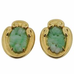 David Webb Carved Jade Gold Earrings