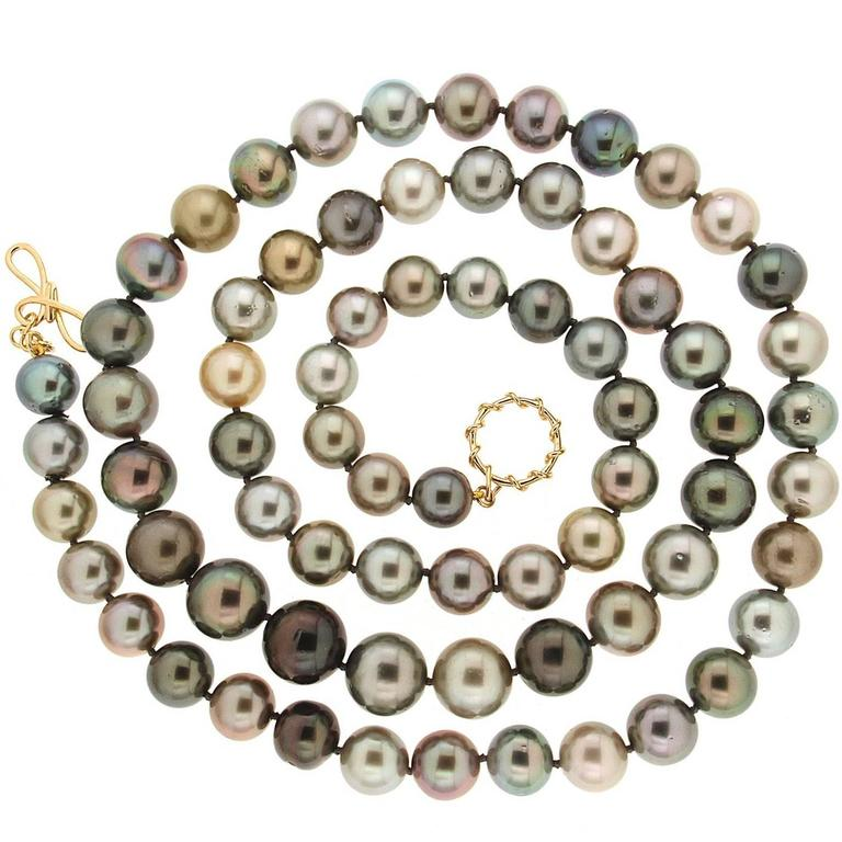 Valentin Magro Multi-Color Tahitian Pearl Necklace For Sale at 1stdibs
