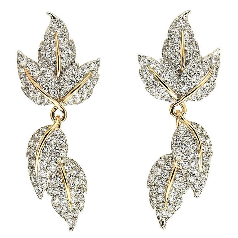 Valentin Magro Triple Leaves Diamond Gold Platinum Detachable Earrings