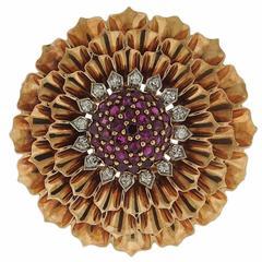 Tiffany & Co. Retro Ruby Diamond Gold Flower Brooch Pin