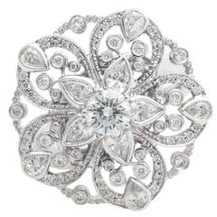 Chanel Diamond White Gold Flower Ring